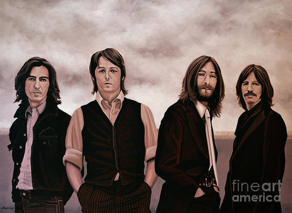 The Beatles Poster featuring the painting The Beatles 3 by Paul Meijering