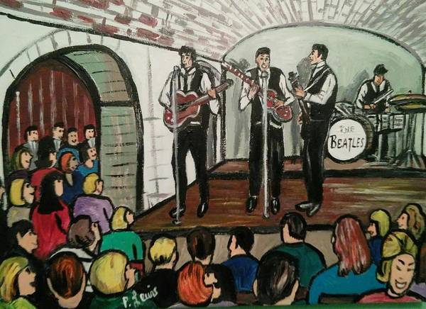 The Beatles Cavern Club Liverpool British Rock N Roll Merseybeat Fab Four Paul Mccartney John Lennon George Harrison Ringo Starr Poster featuring the painting The Beatles At The Cavern Club Liverpool by Phil Lewis
