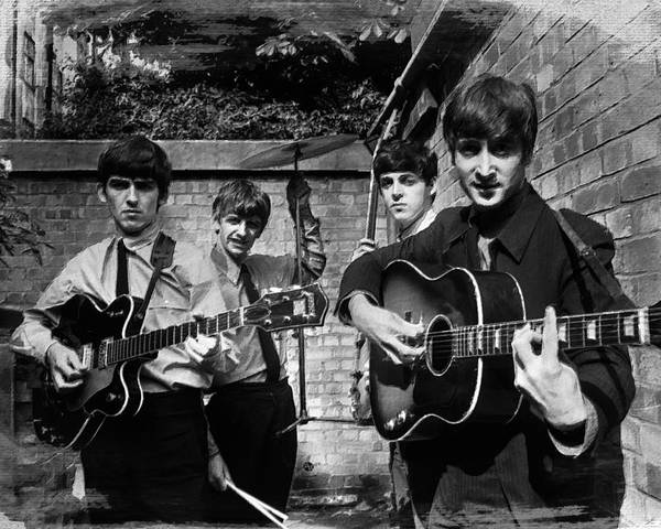 The Beatles Poster Featuring Painting In London 1963 Black And White By