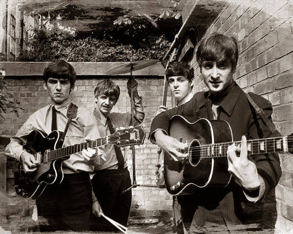 The Beatles Poster featuring the painting The Beatles In London 1963 Sepia Painting by Tony Rubino
