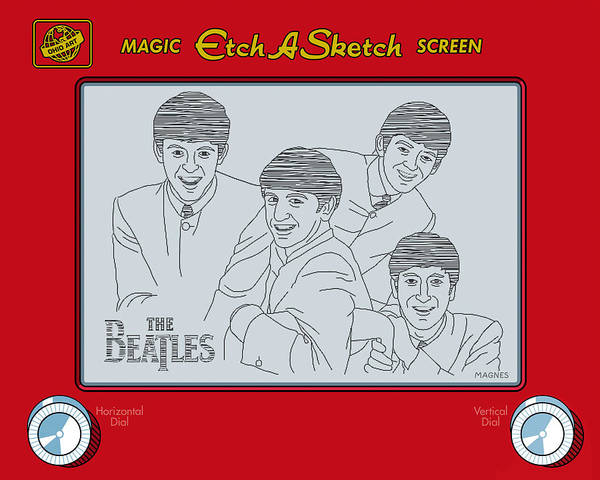 Beatles Poster featuring the digital art The Beatles by Ron Magnes