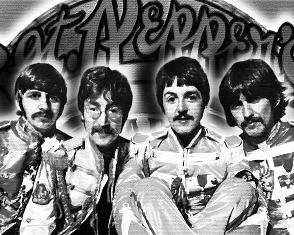 The Beatles Poster featuring the painting The Beatles Sgt. Pepper's Lonely Hearts Club Band Painting And Logo 1967 Black And White by Tony Rubino
