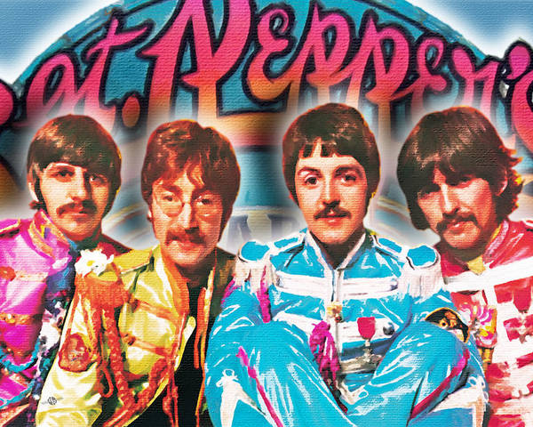 The Beatles Poster featuring the painting The Beatles Sgt. Pepper's Lonely Hearts Club Band Painting And Logo 1967 Color by Tony Rubino