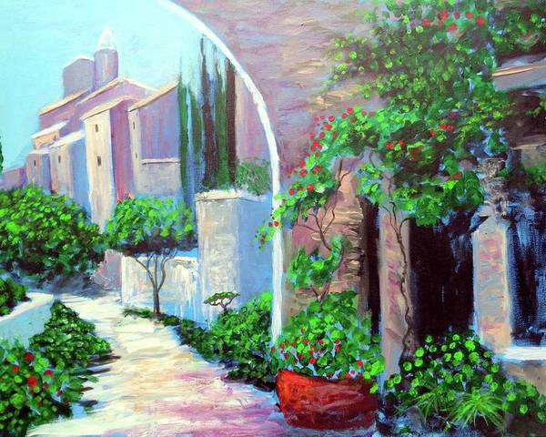 .italy Mediterranean Art Tuscany Poster featuring the painting The Beautiful Way by Larry Cirigliano