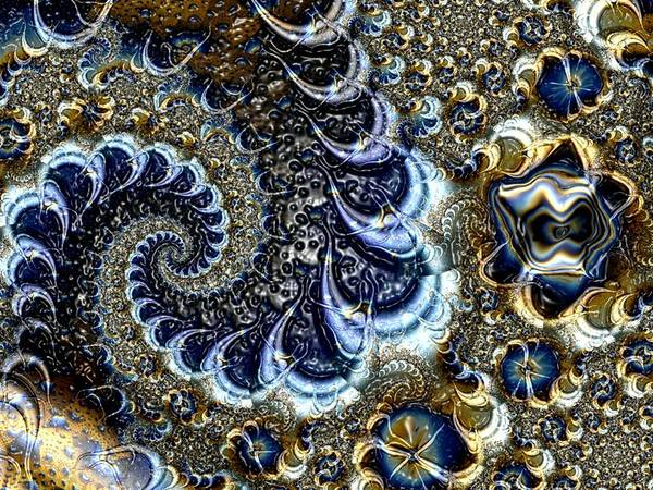 Fractal Diamonds Blue Jewel Dance River Poster featuring the digital art The Blue Diamonds by Veronica Jackson