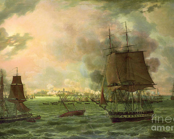 The Poster featuring the painting The Bombing Of Cadiz By The French by Louis Philippe Crepin