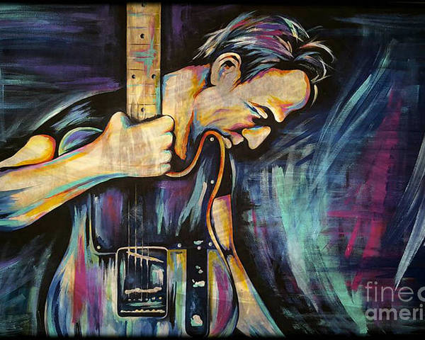 The Boss Poster featuring the painting The Boss Bruce Springsteen by Amy Belonio