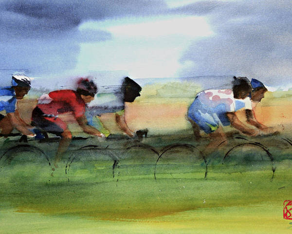 Le Tour De France Poster featuring the painting The Breakaway by Shirley Peters