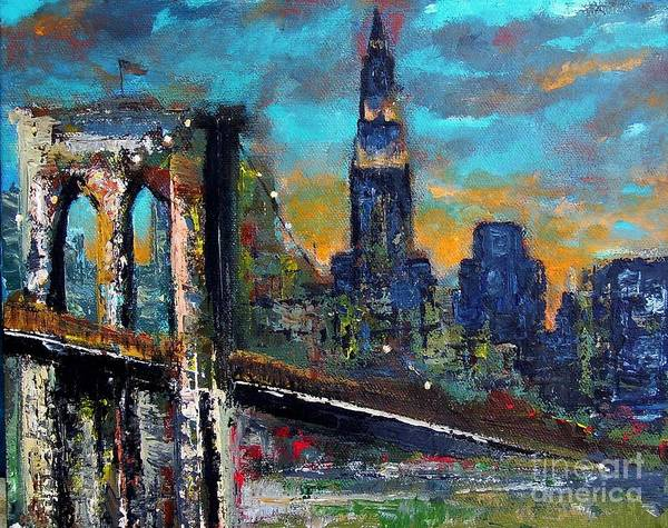 Bridges Poster featuring the painting The Brooklyn Bridge by Frances Marino