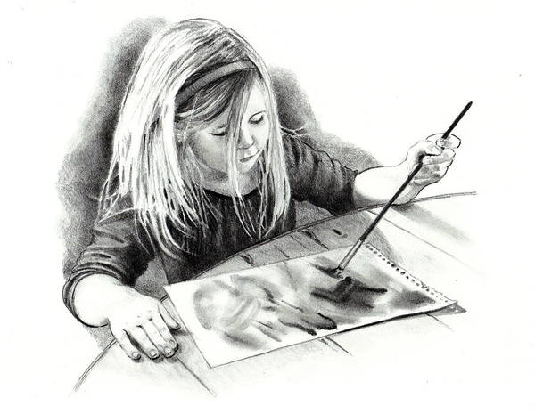 Child Poster featuring the drawing The Budding Artist by Joyce Geleynse
