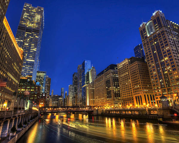Chicago Poster featuring the photograph The Busy River in Chicago by Shawn Everhart