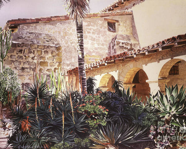 Watercolor Poster featuring the painting The Cactus Courtyard - Mission Santa Barbara by David Lloyd Glover