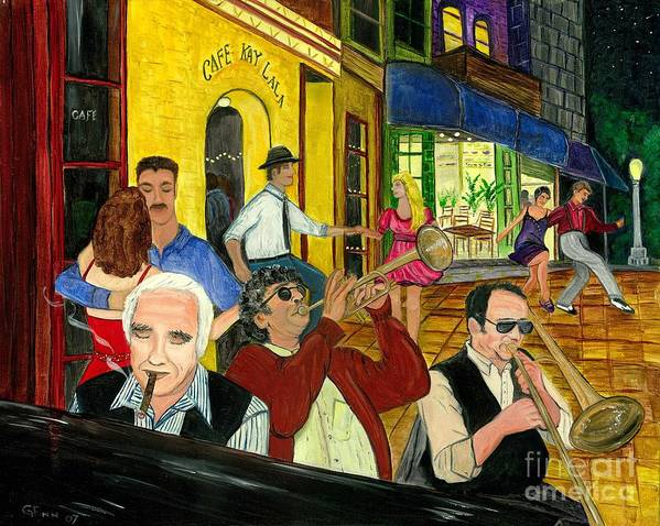 Music Poster featuring the painting The Cafe by Gail Finn