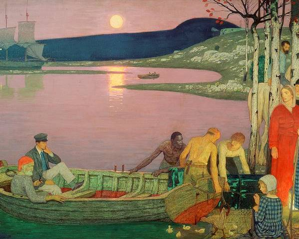 The Poster featuring the painting The Call Of The Sea by Frederick Cayley Robinson