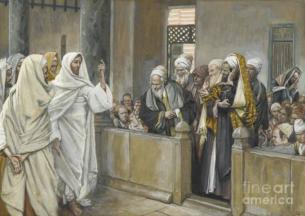 Pharisees;tissot Poster featuring the painting The Chief Priests Ask Jesus By What Right Does He Act In This Way by James Jacques Joseph Tissot