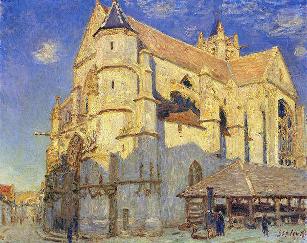 The Church At Moret Poster featuring the painting The Church At Moret by Alfred Sisley