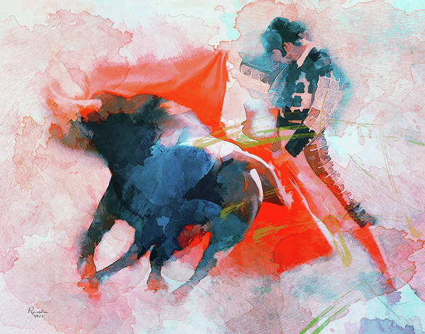 Bullfighting Poster featuring the painting The Clash Of Power And Will by Rosalina Atanasova