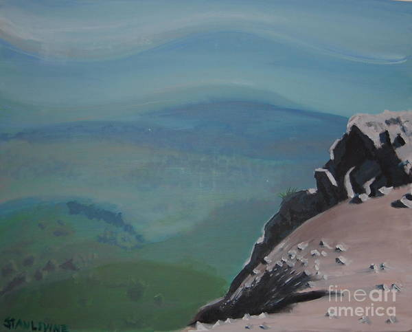 Landscape Poster featuring the painting The Cliff by Stan Levine