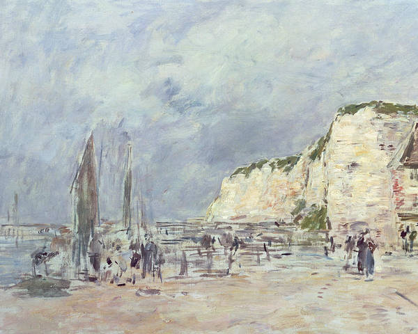 The Poster featuring the painting The Cliffs At Dieppe And The Petit Paris by Eugene Louis Boudin