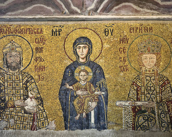 Istanbul Poster featuring the photograph The Comnenus Mosaics In Hagia Sophia by Ayhan Altun