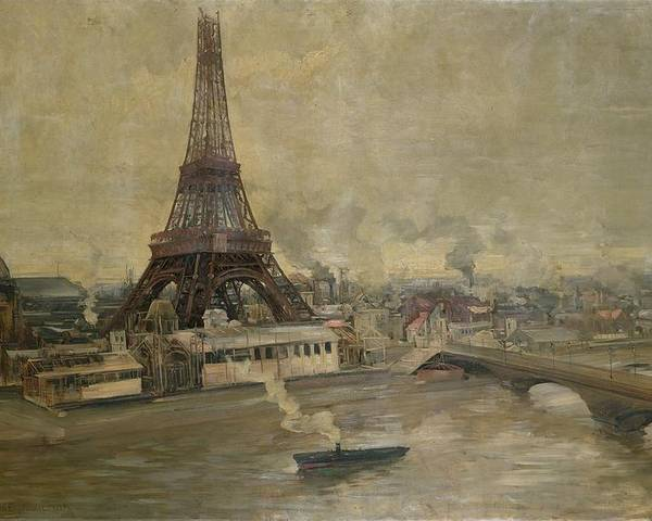 The Poster featuring the painting The Construction Of The Eiffel Tower by Paul Louis Delance