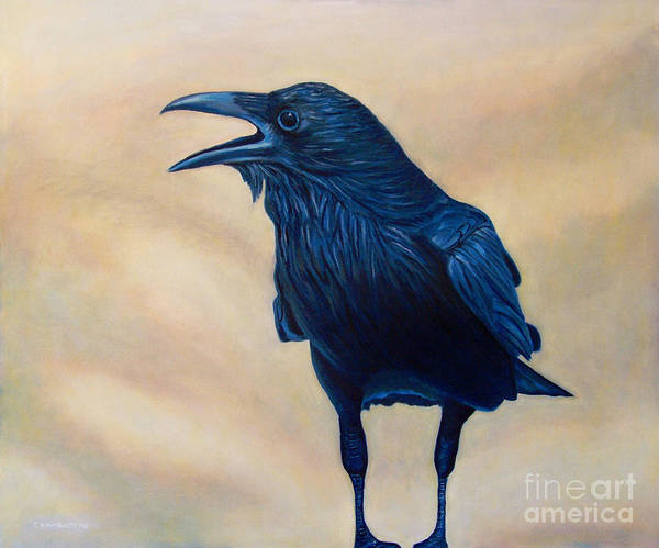 Raven Poster featuring the painting The Conversation by Brian Commerford