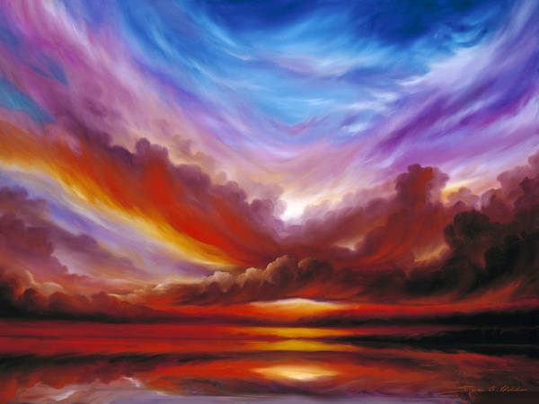 Skyscape Poster featuring the painting The Cosmic Storm II by James Christopher Hill