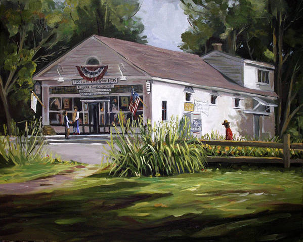 Buildings Poster featuring the painting The Country Store by Nancy Griswold
