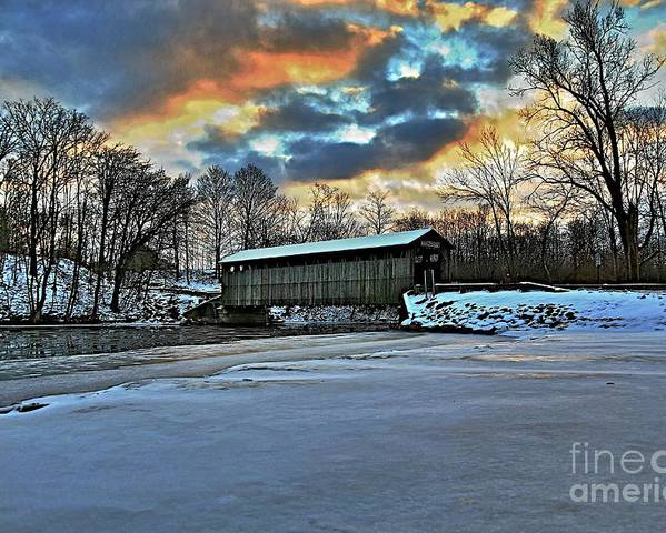 Covered Bridge Old Lumber 1870s Art Snow Winter Landscape Artistic Poster featuring the photograph The Covered Bridge by Robert Pearson