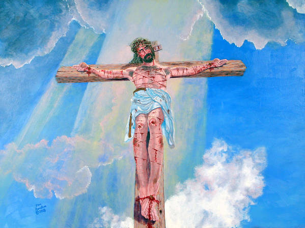 Christian Poster featuring the painting The Crucifixion DayTime by Stan Hamilton