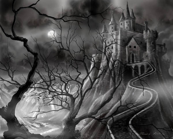 Castle Poster featuring the painting The Dark Castle by James Christopher Hill