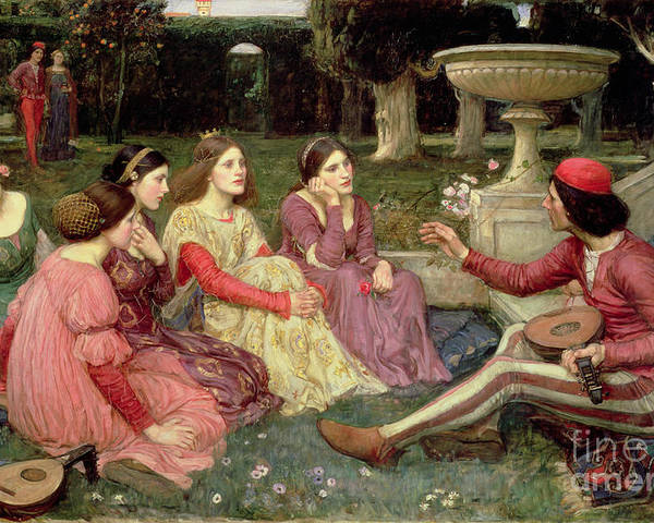 John William Waterhouse Poster featuring the painting The Decameron by John William Waterhouse