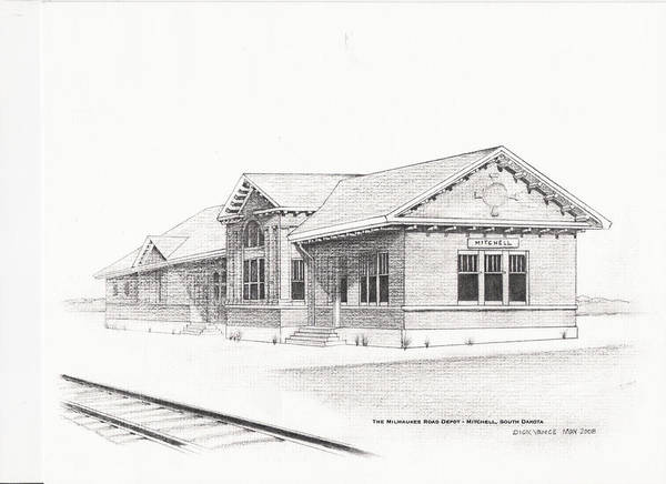 Architecture Poster featuring the painting The Depot Mitchell South Dakota by Buffalo Dick Vance