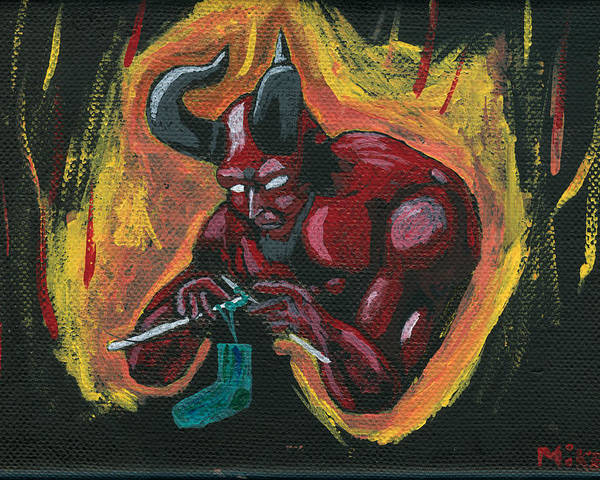 Devil Poster featuring the painting The Devil's Day Of Down Time by Mikey Milliken