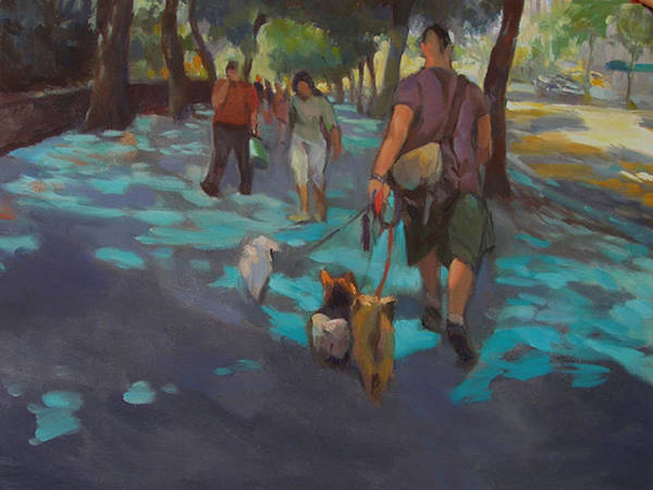 Dogs Poster featuring the painting The Dog Walker by Merle Keller