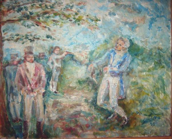 People Landscape Historical Duel Poster featuring the painting The Duel by Joseph Sandora Jr