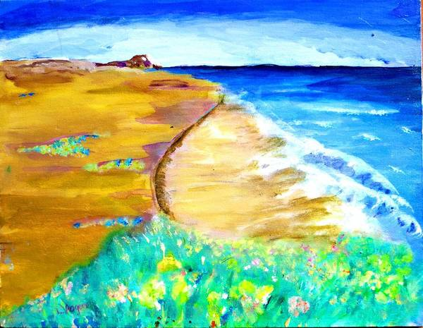 Landscape Poster featuring the painting The Edge Of The Sea by Lynn Rogers