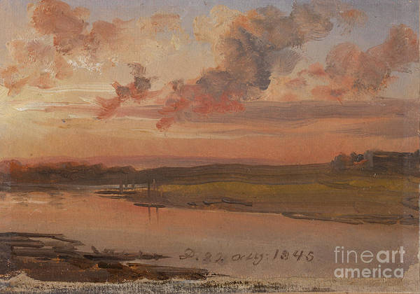 The Elbe In Evening Light Poster featuring the painting The Elbe In Evening Light by Celestial Images
