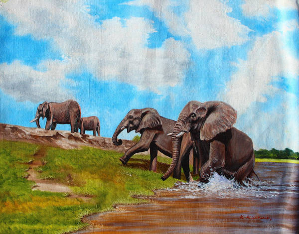 True African Art Poster featuring the painting The Elephants Rise by Richard Kimenia