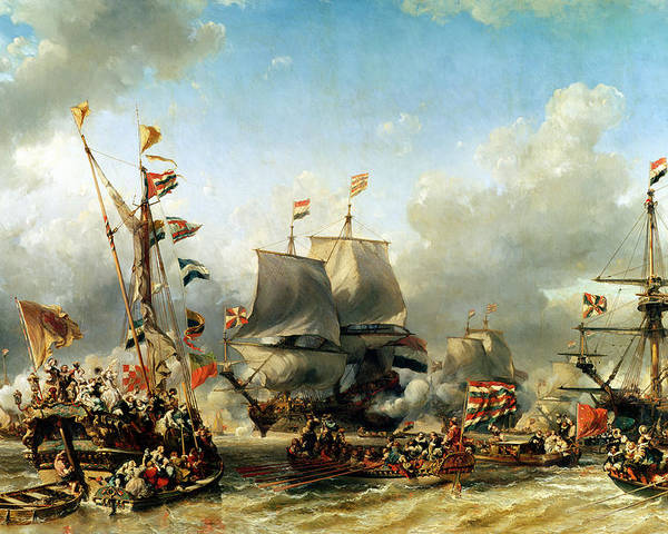 The Poster featuring the painting The Embarkation Of Ruyter And William De Witt In 1667 by Louis Eugene Gabriel Isabey
