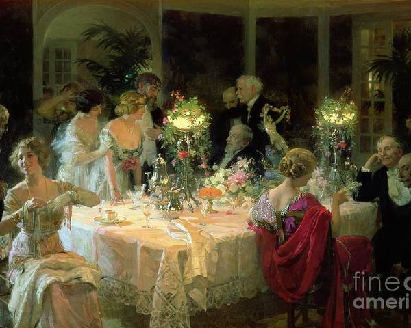 The Poster featuring the painting The End Of Dinner by Jules Alexandre Grun