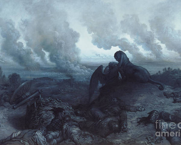 Insurrection; 1871; Burning; Smoke; Fires; Sphinx; Oedipus; Angel; Death; Devastation; Despair; Corpses; Corpse; Panorama; City; View; Destruction; Embrace; Riddle; Statue; Sculpture; Plumes; Cloud Poster featuring the painting The Enigma by Gustave Dore