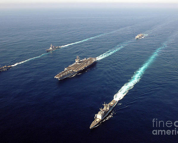 Uss Enterprise Poster featuring the photograph The Enterprise Carrier Strike Group by Stocktrek Images