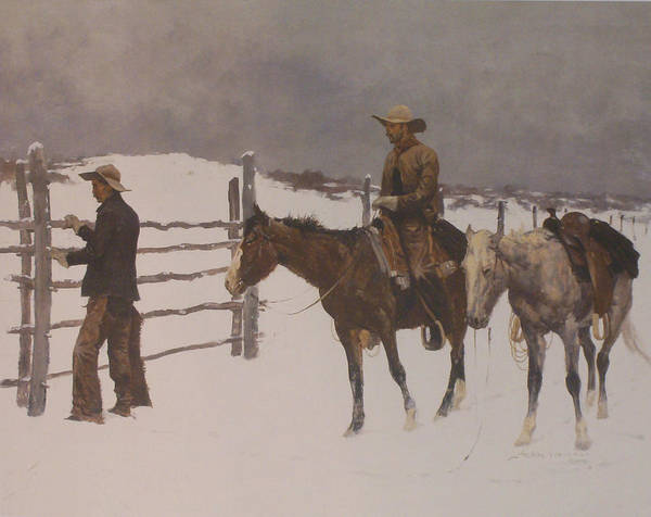Frederic Remington Poster featuring the digital art The Fall Of The Cowboy by Frederic Remington