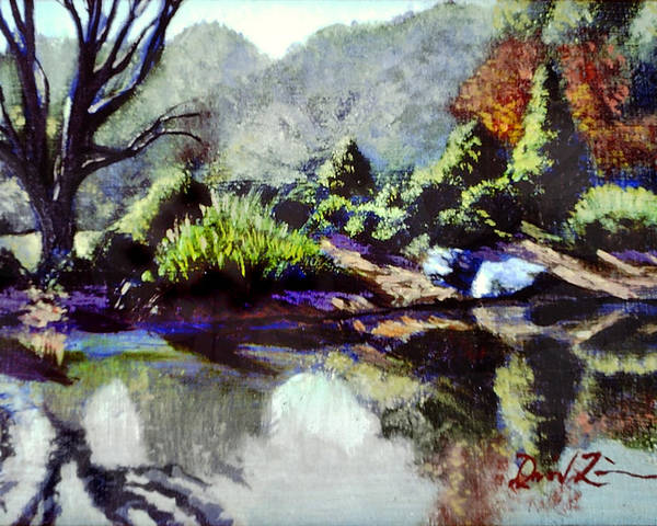 Brookside Garden Pond In The Early Morning Poster featuring the painting The Far Bank by David Zimmerman