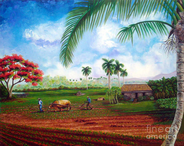 Cuban Art Poster featuring the painting The Farm by Jose Manuel Abraham