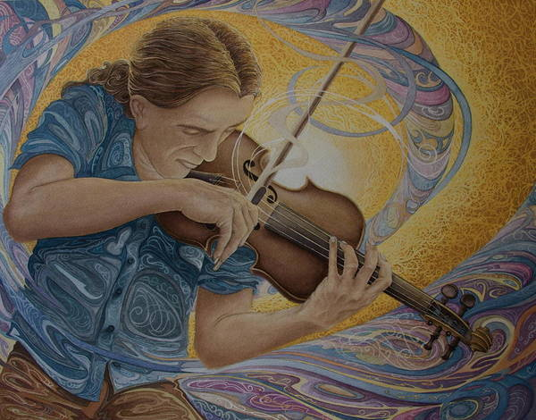 Musician Poster featuring the painting The Fiddler by Caleb Hamm