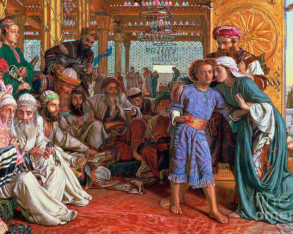 Pre-raphaelite; Passover; Jewish; Elders; Jews; Jesus Christ; Boy; Child; Old Men; Elderly; Elder; And The Lord Poster featuring the painting The Finding Of The Savior In The Temple by William Holman Hunt