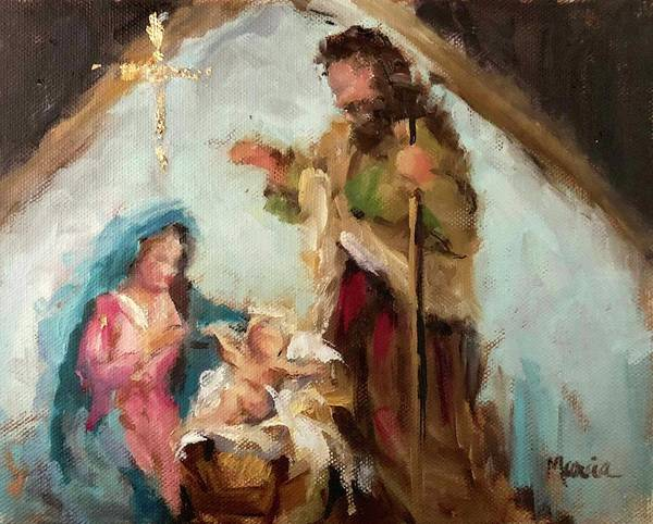 Nativity Poster featuring the painting The First Christmas by Marcia Hodges