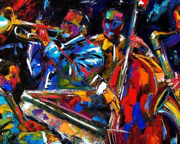 Jazz Poster featuring the painting The First Set by Debra Hurd